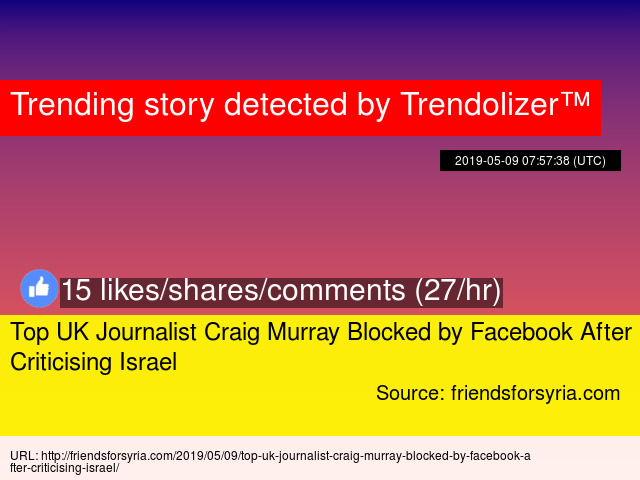 Top UK Journalist Craig Murray Blocked by Facebook After Criticising